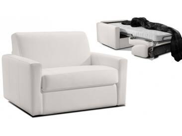 Fauteuil convertible en cuir ouverture express Blanc - Cuir deluxe 1 place - lit 75 cm