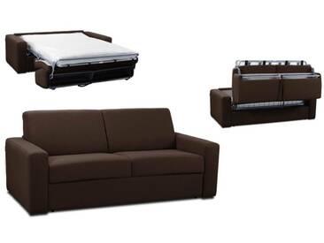 Canapé convertible rapido en tissu coton ouverture express 3 places - lit 140 cm Marron - Tissu coton