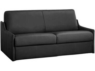 Canapé lit compact gain de place en cuir ouverture express 2 places - lit 120 cm Gris anthracite - Cuir deluxe