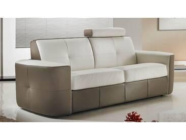 Canapé lit convertible en cuir bicolore système Rapido