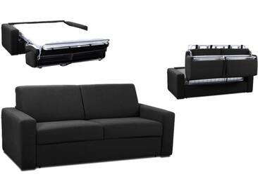 Canapé convertible rapido en tissu coton ouverture express 3 places - lit 140 cm Noir - Tissu coton