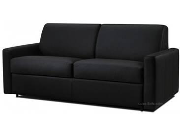 Canapé convertible en cuir système Rapido pour couchage quotidien Noir - Cuir deluxe 3 places - lit 140 cm
