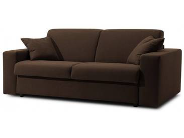 Canapé-lit en tissu microfibre convertible système Rapido 3 places - lit 140 cm Marron - Tissu microfibre