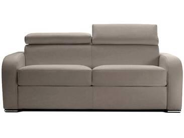 Canapé lit italien en tissu avec appuis tête ajustables 3 places - lit 140 cm Gris clair - Tissu microfibre