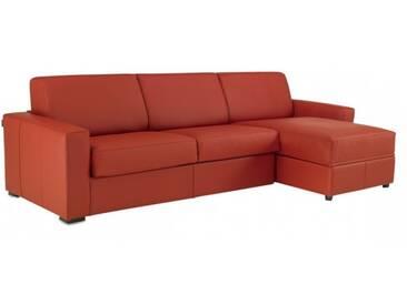 Canapé dangle convertible et réversible en cuir de vachette 5 places - lit 140 cm Rouge - Cuir deluxe