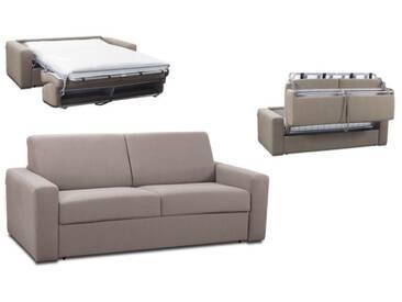 Canapé convertible rapido en tissu coton ouverture express 3 places - lit 140 cm Beige - Tissu coton