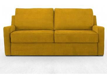 Canapé convertible électrique haut de gamme en tissu microfibre 3 places - lit 140 cm jaune - tissu microfibre velours