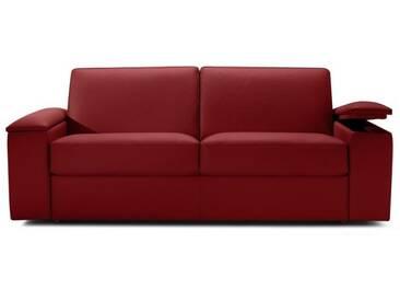 Canapé convertible express en tissu avec rangement intégré accoudoirs 3 places - lit 140 cm Rouge - Tissu microfibre