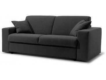 Canapé-lit en tissu microfibre convertible système Rapido 2 places - lit 120 cm Noir - Tissu microfibre