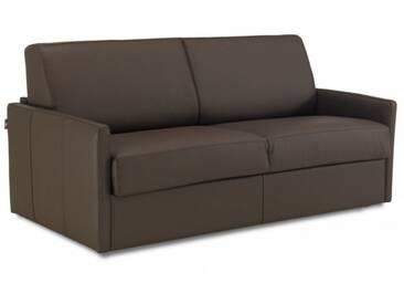 Canapé lit rapido en cuir avec accoudoirs fins 2 places - lit 120 cm Brun - Cuir deluxe