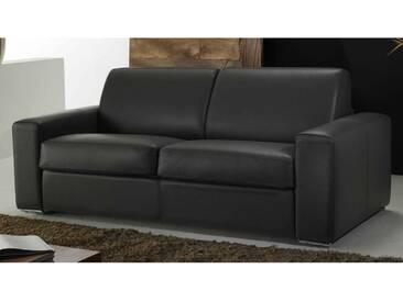 Canapé convertible en cuir haut de gamme à ouverture express Noir - Cuir deluxe 3 places - lit 140 cm