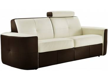 Canapé lit convertible en cuir bicolore système Rapido 3 places - lit 140 cm Blanc / Marron - Cuir deluxe