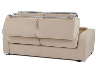 Convertible Rapido microfibre couchage quotidien confortable sur matelas épais 3 places - lit 140 cm Crème - Tissu microfibre