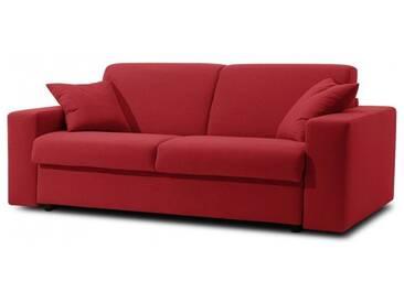 Canapé-lit en tissu microfibre convertible système Rapido 3 places - lit 140 cm Rouge - Tissu microfibre