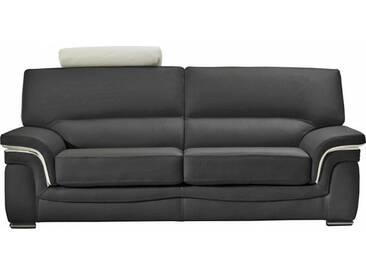 Canapé en cuir classique avec soufflets contrastés Gris anthracite - Cuir deluxe 3 places