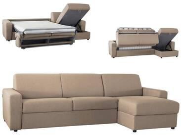 Canapé dangle convertible réversible en tissu coton Beige - Tissu coton 5 places - lit 140 cm