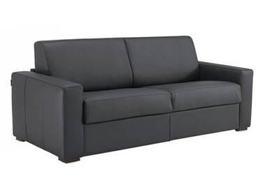 Canapé convertible en cuir ouverture express 2 places - lit 120 cm Gris anthracite - Cuir deluxe