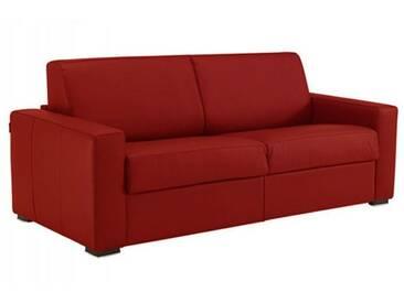 Canapé convertible en cuir ouverture express 3 places - lit 140 cm Rouge - Cuir deluxe