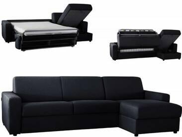 Canapé dangle convertible réversible en microfibre EXPRESS Noir - Tissu microfibre 5 places - lit 140 cm