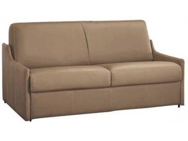 Canapé lit compact gain de place en cuir ouverture express Taupe - Cuir deluxe 4 places - lit 160 cm