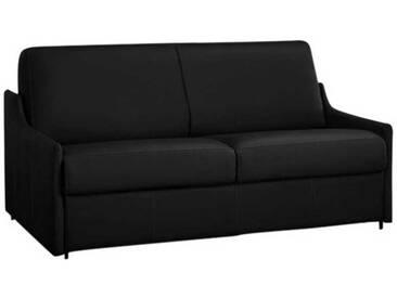 Canapé lit compact gain de place en cuir ouverture express 3 places - lit 140 cm Noir - Cuir + synderme