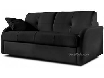 Canapé lit convertible en cuir pour couchage quotidien Noir - Cuir deluxe 3 places - lit 140 cm