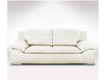 Canapé en cuir confortable 3 places Blanc - Cuir deluxe