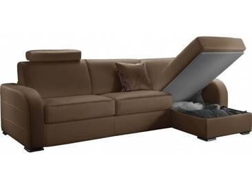 Canapé dangle convertible réversible en cuir Taupe - Cuir + synderme 5 places - lit 140 cm