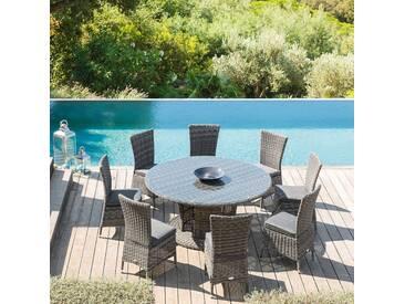 Table de jardin ronde Mooréa Terre dombre