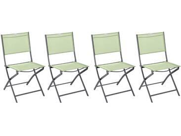 Lot de 4 chaises de jardin pliantes Modula Vert amande & Graphite