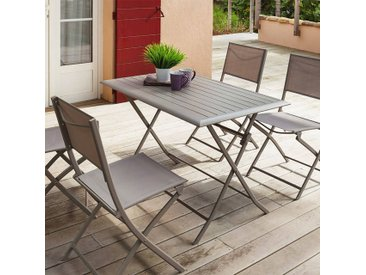 Table de jardin pliante rectangulaire Azua Taupe