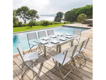 Table de jardin extensible Piazza Gris & Silver mat