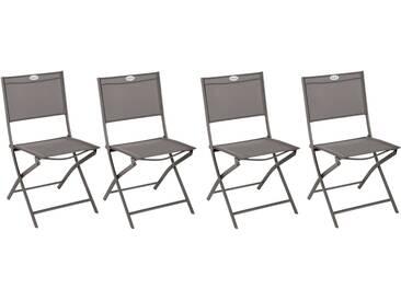 Lot de 4 chaises de jardin pliantes Modula Wengé & Tonka