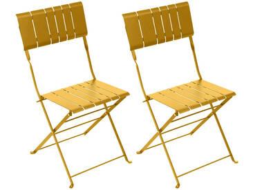 Lot de 2 chaises de jardin pliantes Nasca Moutarde