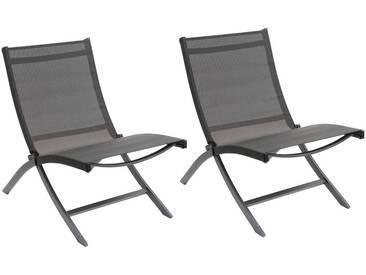 Lot de 2 chaises relax de jardin pliantes San Juan Anthracite