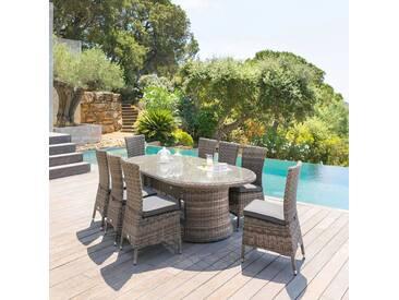 Table de jardin ovale Mooréa Terre dombre