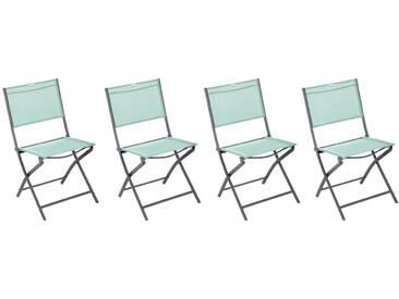 Lot de 4 chaises de jardin pliantes Modula Vert céladon & Graphite
