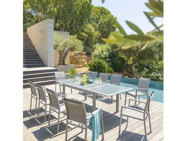 Table de jardin extensible Azua Gris clair & Silver mat