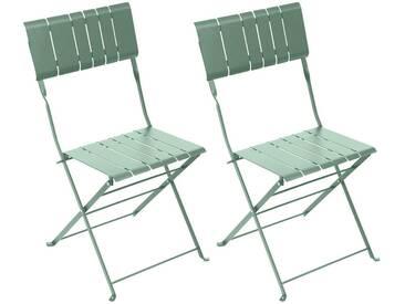 Lot de 2 chaises de jardin pliantes Nasca Vert sauge