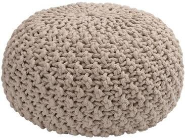 Pouf en coton tressé beige roucas 50x50x30cm Alinéa