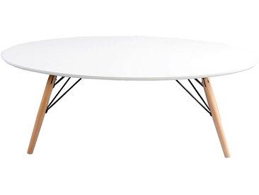 Table basse ovale coloris blanc et hêtre Alinéa