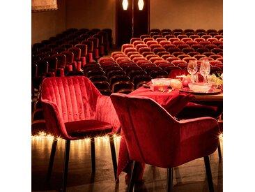 Chaise capitonnée en velours rouge sumac avec accoudoirs Alinéa
