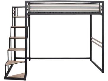 Lit mezzanine en acier Noir - 140x200 cm Alinéa