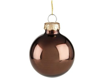 16 boules de Noël marron en verre brillant et mat D3.5cm Alinéa