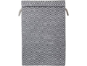 Panier à linge pliable à couvercle noir et blanc Alinéa