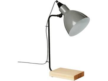 Lampe de bureau en métal gris et bois H45cm Alinéa
