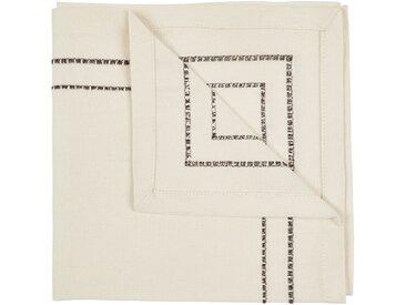 Lot de 2 serviettes de table en coton blanc et noir 41x41cm (prix unitaire : 3.0 euros) Alinéa