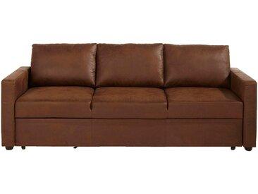 Canapé 3 places convertible en tissu marron vieilli Alinéa