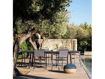 Table de jardin extensible en aluminium noir (6 à 10 places) Alinéa