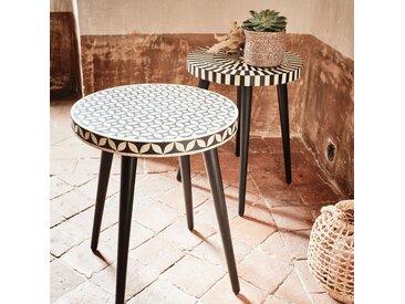Bout de canapé rond en résine et bois de sheesham motif marrelo Alinéa